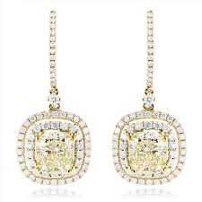 diamond earrings on sale dangling designer diamond drop earrings 6 5ct 18k gold yellow diamonds