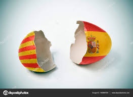 The Flag In Spanish Cracked Eggshell With Catalan And Spanish Flags U2014 Stock Photo