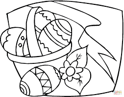 bunny running with easter eggs in a basket coloring page free