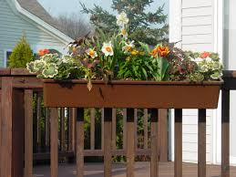 hanging planter boxes for decks balconies with various flower