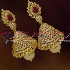 jhumka earrings online j9530 style cz ruby stylish jhumka earrings