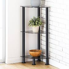 Corner Shelving Bathroom Fitueyes 3 Tier Glass Corner Shelf Bookcase Display Unit Storage