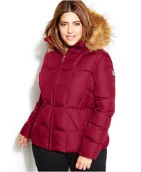 Plus Size Down Coats Calvin Klein Plus Size Faux Fur Trim Hooded Puffer Down Coat In