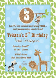 zoo wildlife jungle animals themed boy birthday party invitation