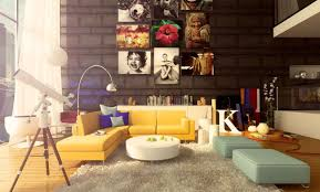 Yellow Table L Living Room Cool Colorful Living Room Ideas With Black Wall And