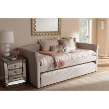 camino fabric upholstered daybed guest trundle bed beige dcg