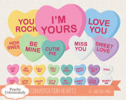 valentines heart candy sayings candy heart clipart etsy