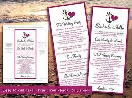 Beach Wedding Program Templates Beach Wedding Program Template Anchor Love Wine Gray Program