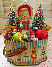 vintage cute tin with vintage christmas delights decoration ooak