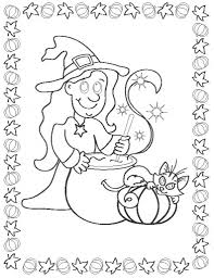 halloween coloring pages print out witch and cat hallowen