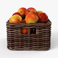 wicker basket 06 with apples set 4 color 3d model max obj fbx mtl