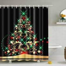 Tree Curtain Black M Waterproof Xmas Tree Bath Christmas Shower Curtain