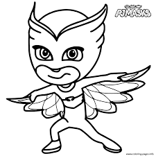 colour in owlette from pj masks coloring pages printable