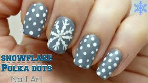 snowflake and polka dots nail art design winter nails youtube