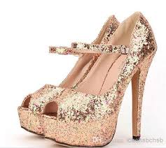 2014 high heel dress shoes gold silver color sequins 1prs 0408s2