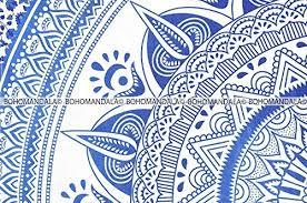 Tapestry Duvet 3 Piece Duvet Cover Set Queen Blue Bohomandala Free Spirit Mandala