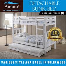 Bunk Bed With Pull Out Bed Qoo10 Bunk Bed Furniture Deco