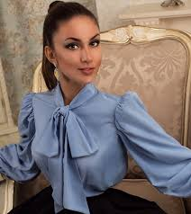 s fitted blouses blue blouse with a bow blouse with bow by lamiaperla