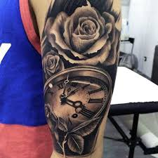 manly 3d realistic rose with pocket watch mens arm tattoo