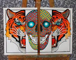 sphynx skull neo traditional tattoo art flash print