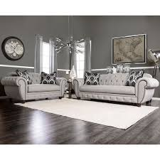 Gray Sofa In Living Room Furniture Of America Augusta Victorian Grey Sofa Free Shipping
