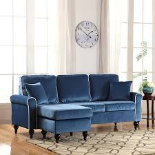 amazon com classic and traditional small space velvet sectional