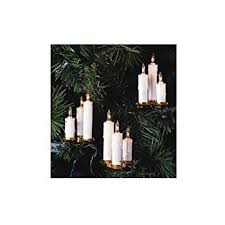 kurt s adler 10 light clip on white candle with clear