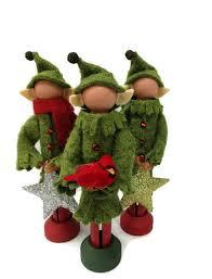 elf christmas ornament olive green clothespin ornament elf