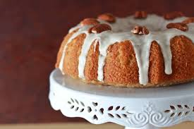 maple sour cream bundt cake with vanilla bean bourbon glaze