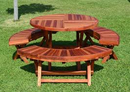 Wooden Folding Picnic Table Wood Folding Picnic Table With Curved Benches Forever Redwood