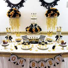 black and gold prince baby shower candy buffet centerpiece