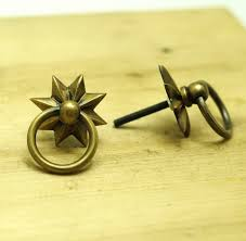 Brass Ring Pulls Cabinet Hardware by Lot Of 6 Pcs Vintage Western Star Ring Pull Artsofbrass