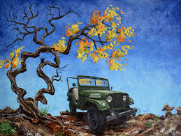 jeep christmas tree jeep willys m38a1 army 18 x 24 original oil
