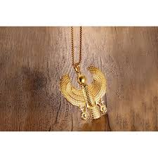 gold plate necklace images Gold plate egyptian flying horus bird necklace pendants men falcon jpg