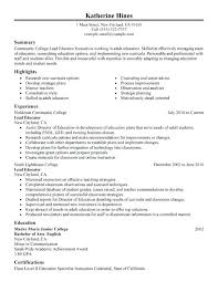 How To Build A College Resume Resume Sheridan College Resume Builder Lead Educator Sample