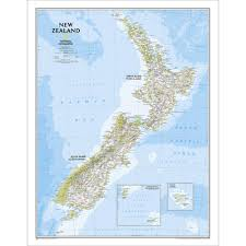 New Zealand On A World Map by New Zealand Classic Wall Map Laminated National Geographic Store