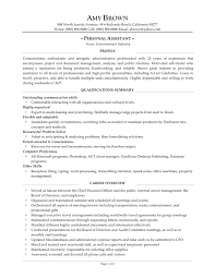 Sample Training Resume by Resume For Personal Assistant Executive Samples Free Download