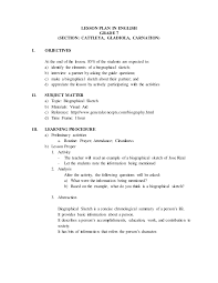 biographical sketch lesson plan