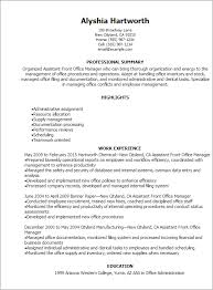 Office Assistant Resume Template Professional Assistant Front Office Manager Resume Templates To