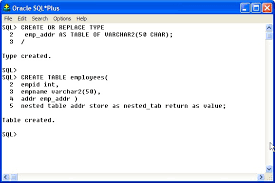 employee table sql queries pl sql nested tables
