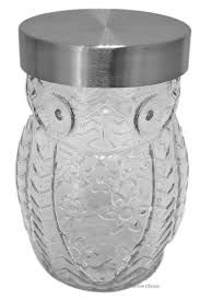 amazon com clear glass owl shaped 42oz large biscotti cookie