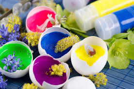 decorated egg shells happy colorful easter decoration with egg shells filled with