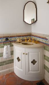 Powder Room Vanity Sink Cabinets - corner sink cabinet powder room mediterranean with accent tile