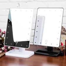 Tabletop Vanity Mirror With Lights Touch Led Light Illuminated Makeup Cosmetic Vanity Bathroom Stand