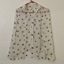 aeropostale blouses aeropostale sheer blouse with birds