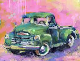 old chevy chevrolet pickup truck on a street painting by svetlana