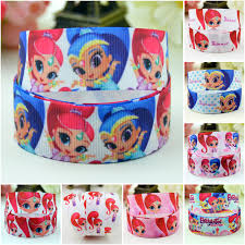 grosgrain ribbons 7 8 22mm shimmer and shine character printed grosgrain