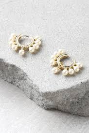 pearl hoop earrings shashi loren gold earrings pearl earrings