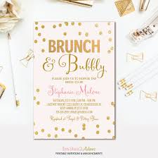 brunch bridal shower invitations brunch and bubbly invitation pink gold confetti bridal shower