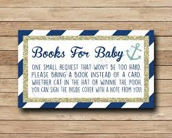 bring a book instead of a card baby shower nautical book request insert bring a book instead of a card navy